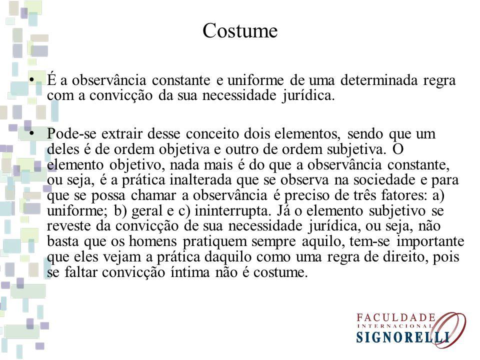 Costume É a observância constante e uniforme de uma determinada regra com a convicção da sua necessidade jurídica.