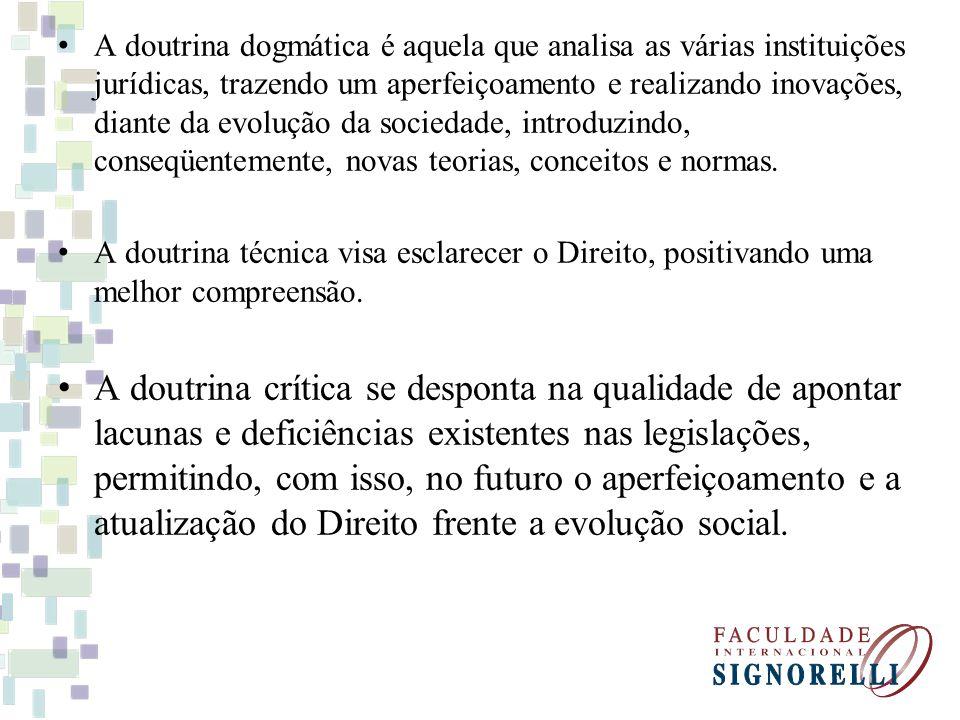 A doutrina dogmática é aquela que analisa as várias instituições jurídicas, trazendo um aperfeiçoamento e realizando inovações, diante da evolução da sociedade, introduzindo, conseqüentemente, novas teorias, conceitos e normas.