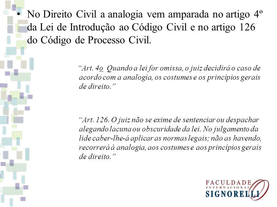 No Direito Civil a analogia vem amparada no artigo 4º da Lei de Introdução ao Código Civil e no artigo 126 do Código de Processo Civil.