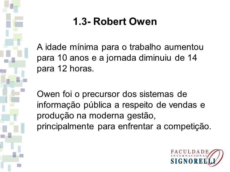 1.3- Robert Owen A idade mínima para o trabalho aumentou para 10 anos e a jornada diminuiu de 14 para 12 horas.