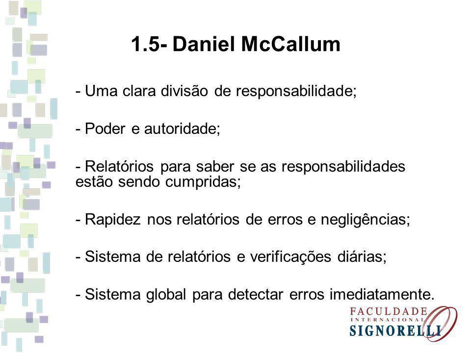 1.5- Daniel McCallum - Uma clara divisão de responsabilidade;