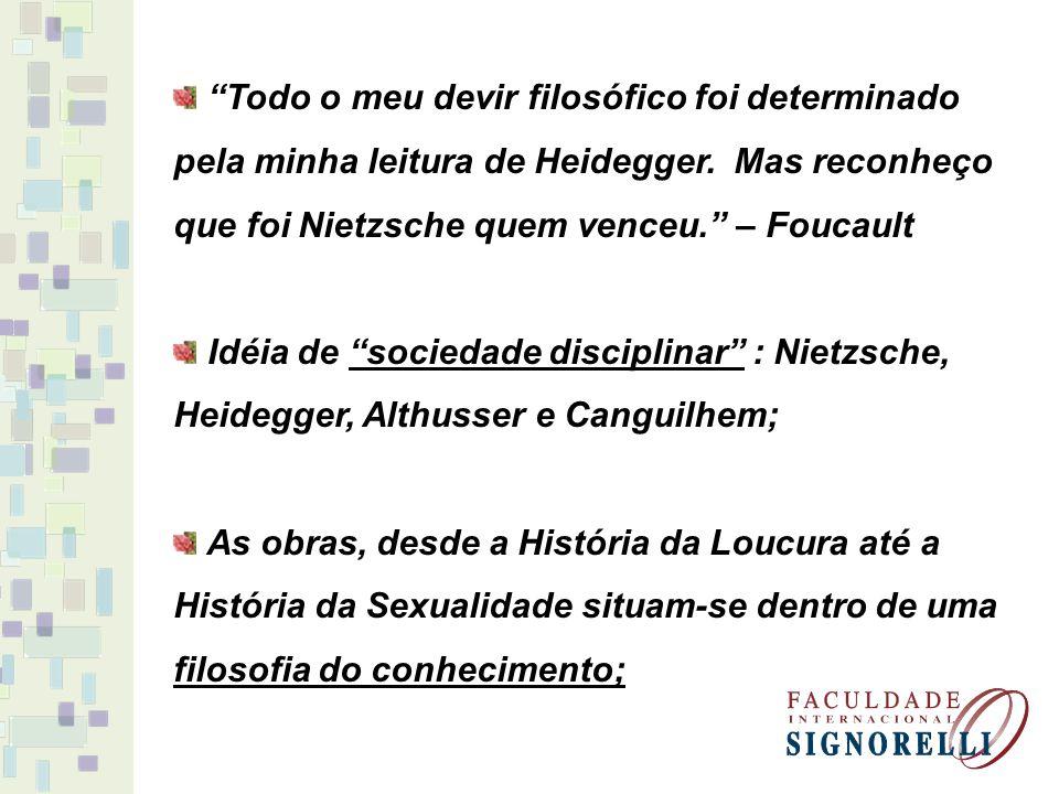 Todo o meu devir filosófico foi determinado pela minha leitura de Heidegger. Mas reconheço que foi Nietzsche quem venceu. – Foucault