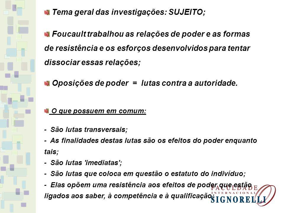 Tema geral das investigações: SUJEITO;