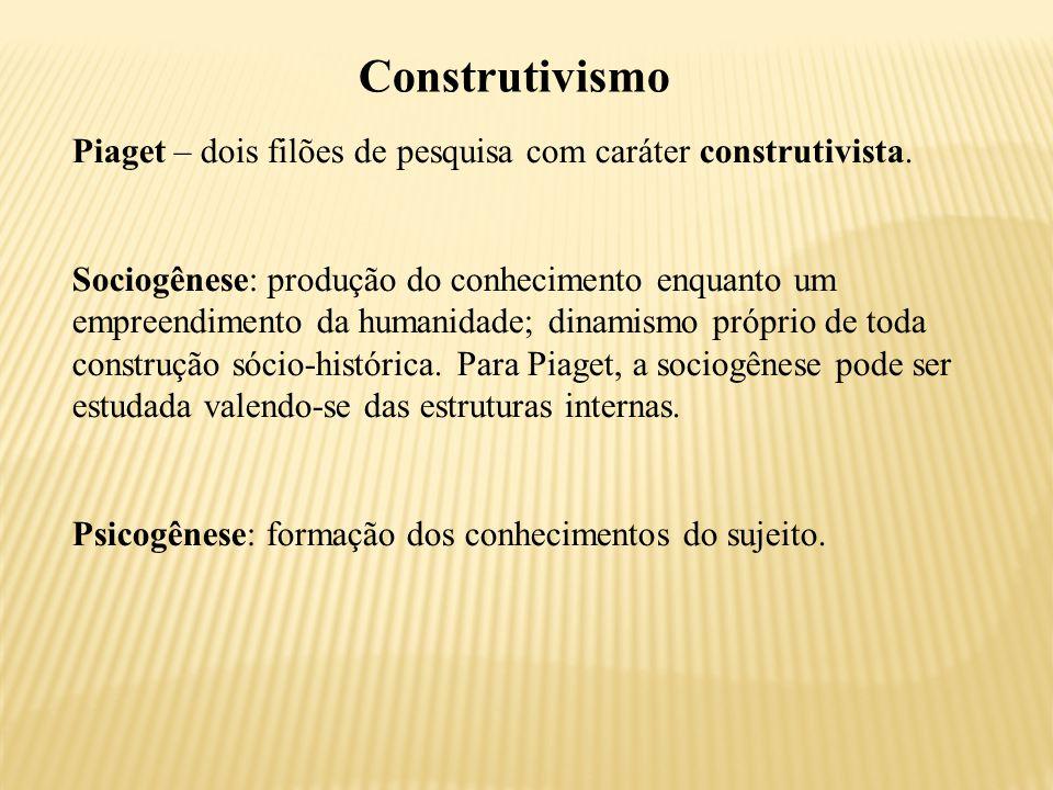 Construtivismo Piaget – dois filões de pesquisa com caráter construtivista.