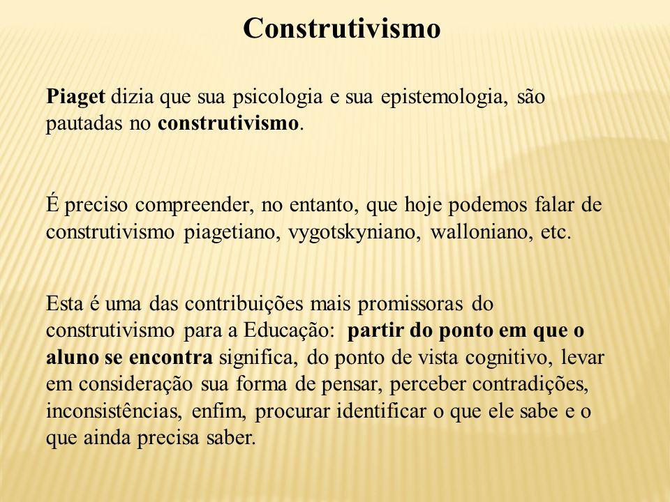 Construtivismo Piaget dizia que sua psicologia e sua epistemologia, são pautadas no construtivismo.