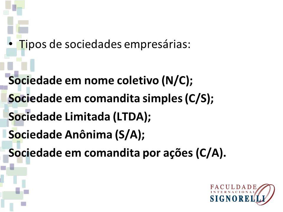 Tipos de sociedades empresárias: