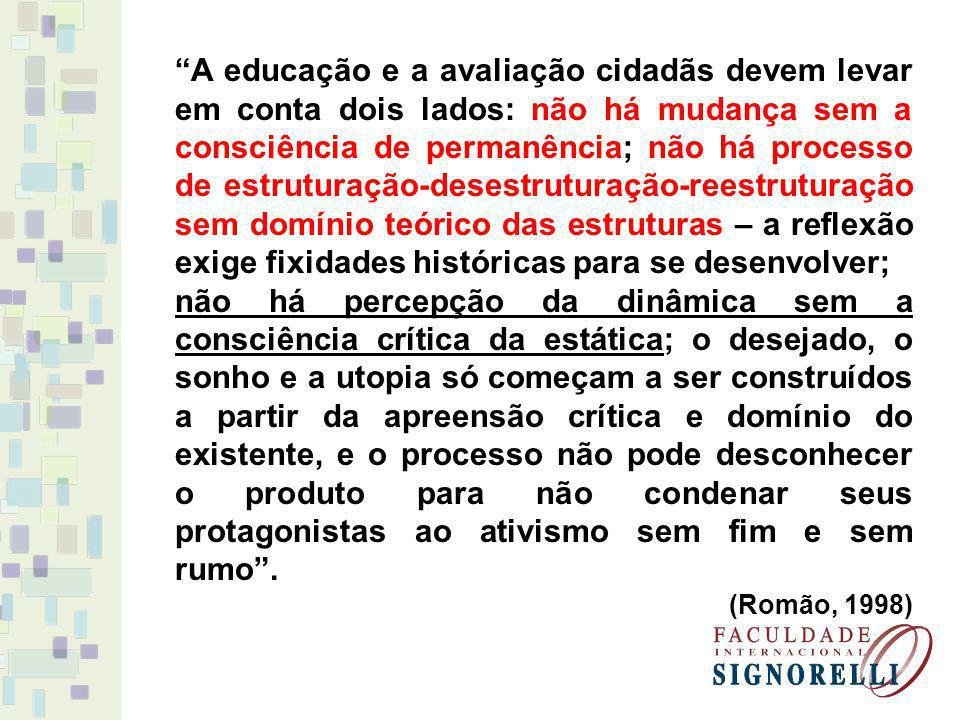 A educação e a avaliação cidadãs devem levar em conta dois lados: não há mudança sem a consciência de permanência; não há processo de estruturação-desestruturação-reestruturação sem domínio teórico das estruturas – a reflexão exige fixidades históricas para se desenvolver;