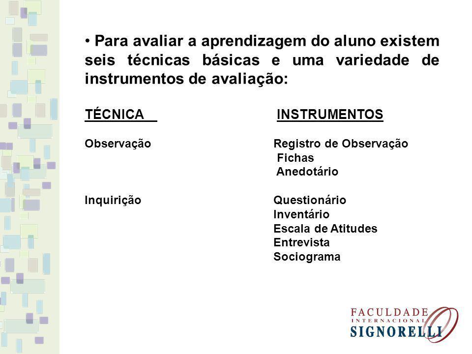 Para avaliar a aprendizagem do aluno existem seis técnicas básicas e uma variedade de instrumentos de avaliação: