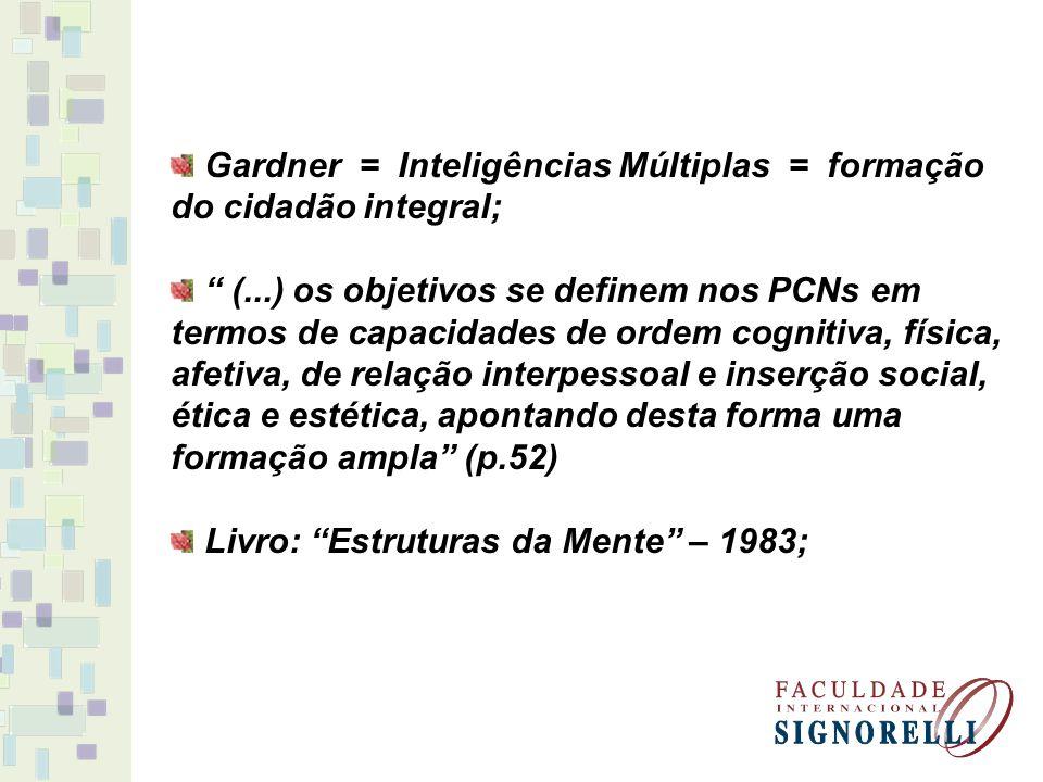 Gardner = Inteligências Múltiplas = formação do cidadão integral;