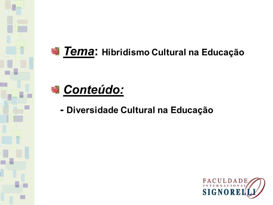 Tema: Hibridismo Cultural na Educação Conteúdo: