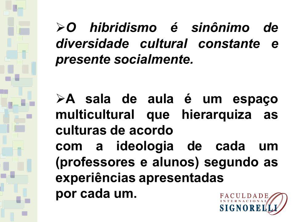 O hibridismo é sinônimo de diversidade cultural constante e presente socialmente.