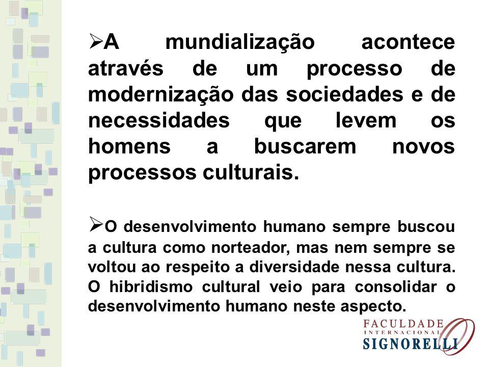 A mundialização acontece através de um processo de modernização das sociedades e de necessidades que levem os homens a buscarem novos processos culturais.