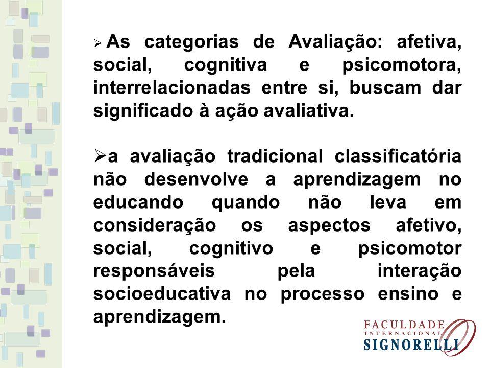 As categorias de Avaliação: afetiva, social, cognitiva e psicomotora, interrelacionadas entre si, buscam dar significado à ação avaliativa.