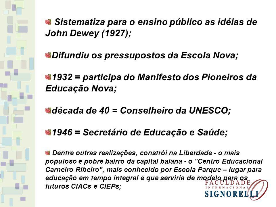 Sistematiza para o ensino público as idéias de John Dewey (1927);