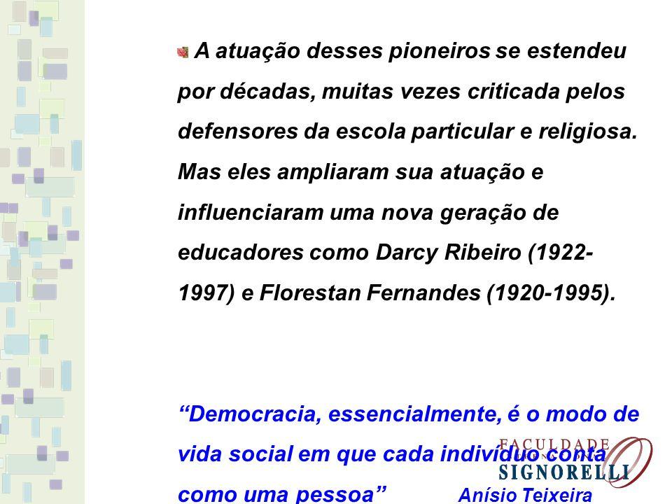 A atuação desses pioneiros se estendeu por décadas, muitas vezes criticada pelos defensores da escola particular e religiosa. Mas eles ampliaram sua atuação e influenciaram uma nova geração de educadores como Darcy Ribeiro (1922-1997) e Florestan Fernandes (1920-1995).