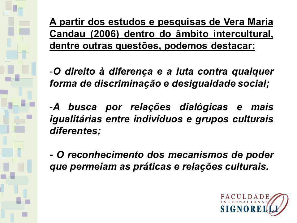 A partir dos estudos e pesquisas de Vera Maria Candau (2006) dentro do âmbito intercultural, dentre outras questões, podemos destacar: