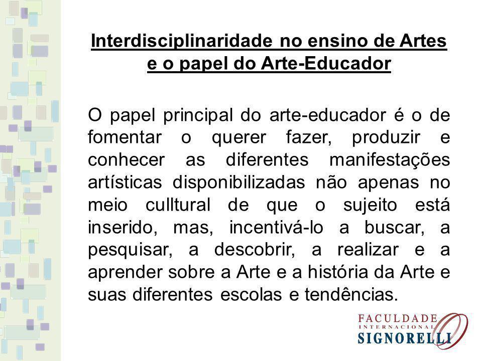 Interdisciplinaridade no ensino de Artes e o papel do Arte-Educador