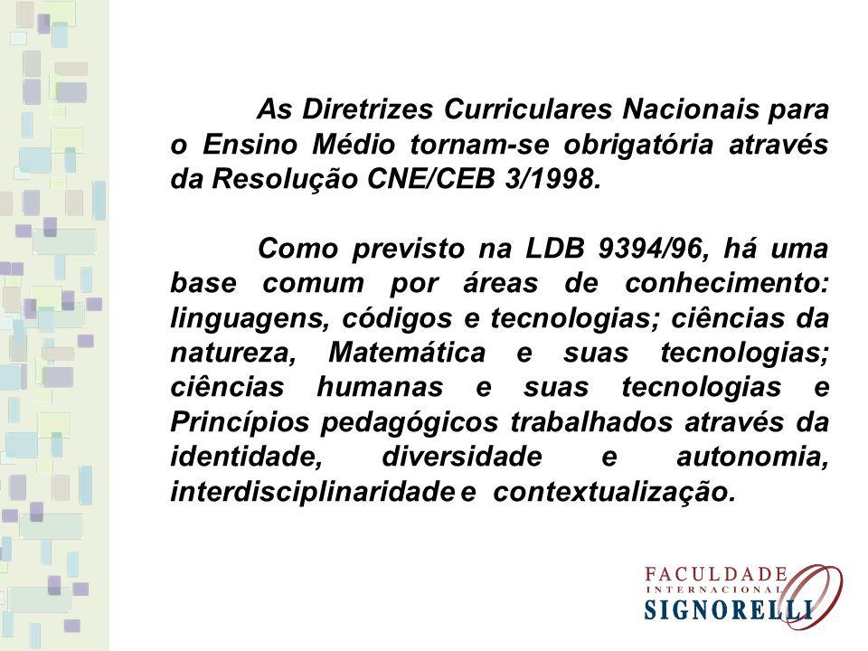As Diretrizes Curriculares Nacionais para o Ensino Médio tornam-se obrigatória através da Resolução CNE/CEB 3/1998.