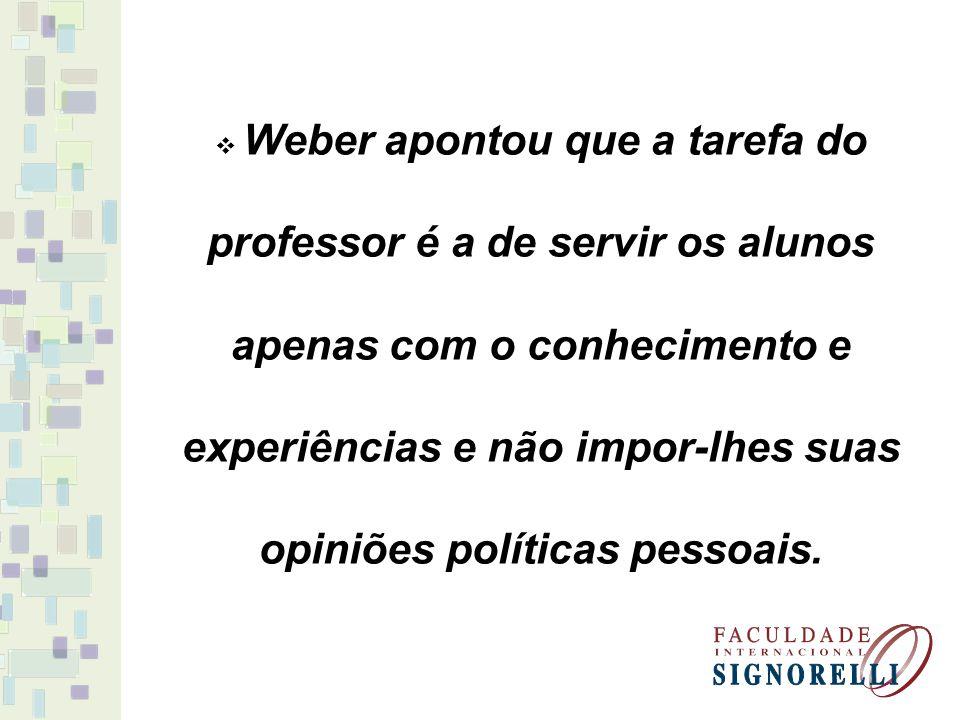 Weber apontou que a tarefa do professor é a de servir os alunos apenas com o conhecimento e experiências e não impor-lhes suas opiniões políticas pessoais.