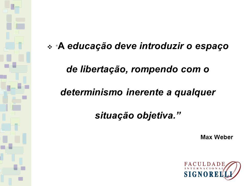 A educação deve introduzir o espaço de libertação, rompendo com o determinismo inerente a qualquer situação objetiva.