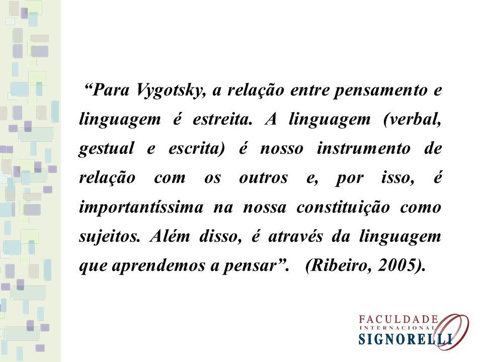 Para Vygotsky, a relação entre pensamento e linguagem é estreita