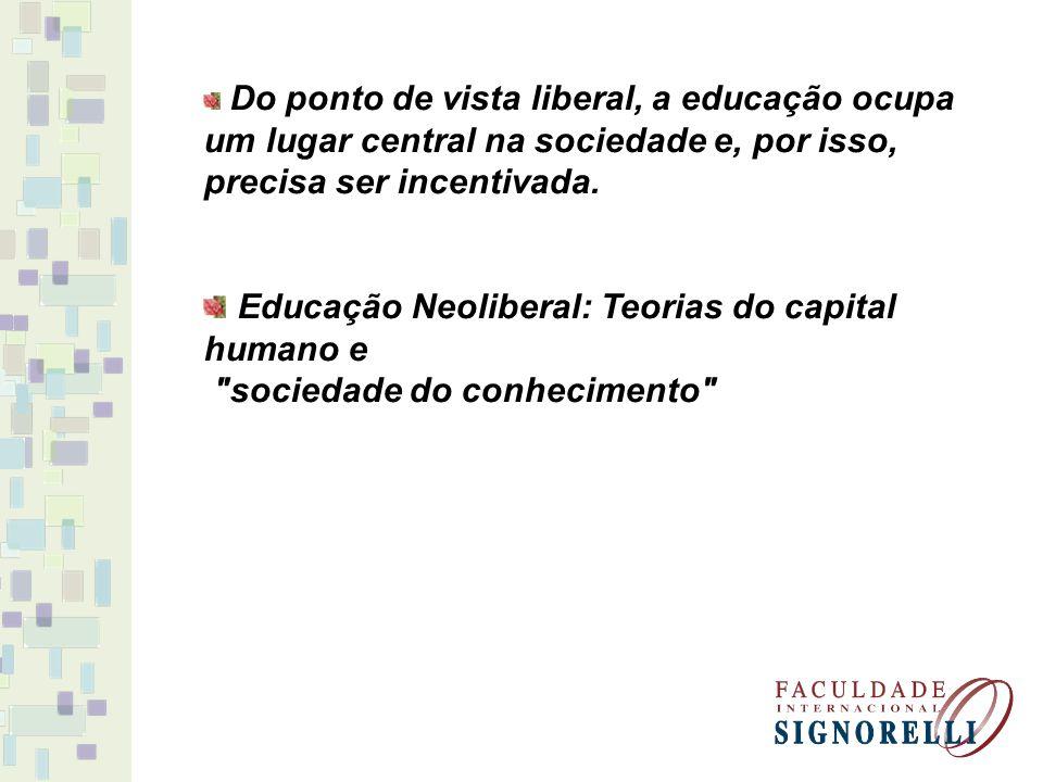 Educação Neoliberal: Teorias do capital humano e