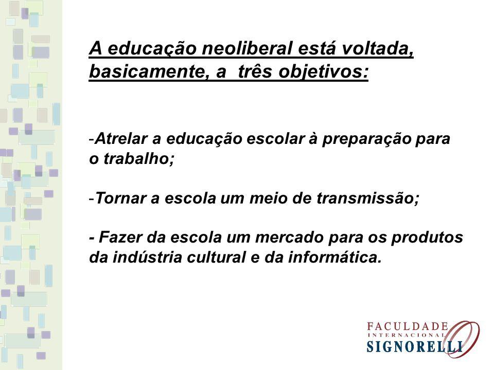 A educação neoliberal está voltada, basicamente, a três objetivos: