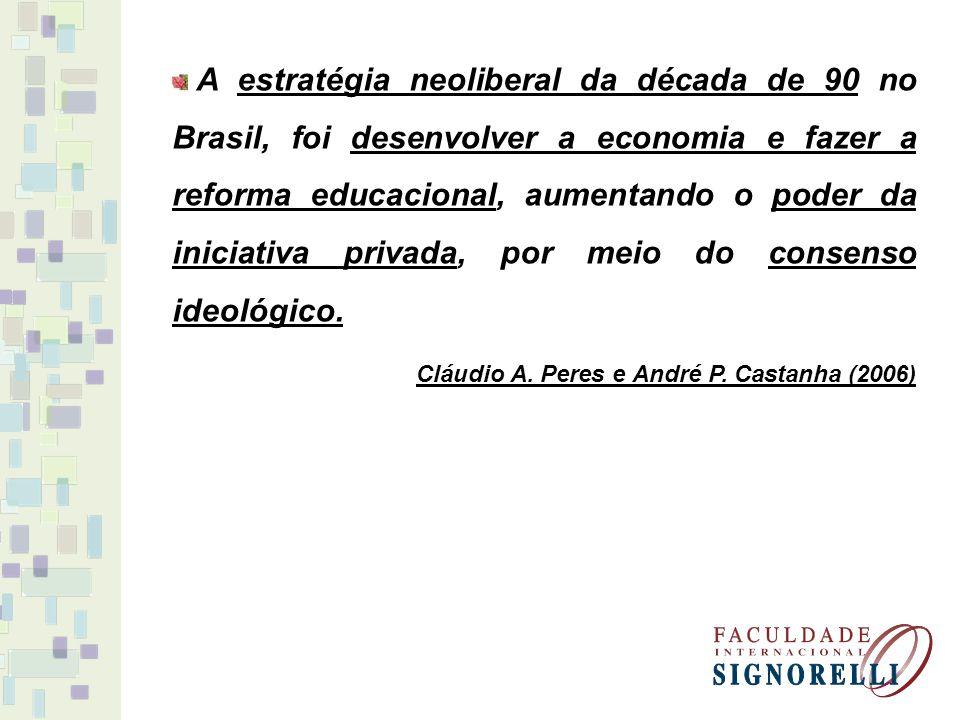 A estratégia neoliberal da década de 90 no Brasil, foi desenvolver a economia e fazer a reforma educacional, aumentando o poder da iniciativa privada, por meio do consenso ideológico.
