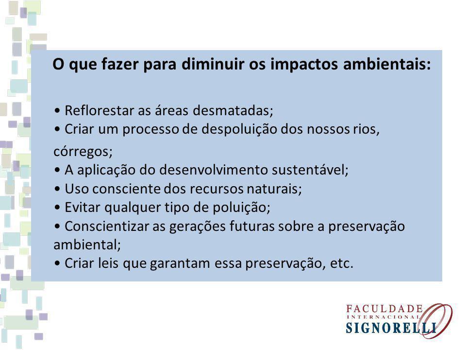 O que fazer para diminuir os impactos ambientais: