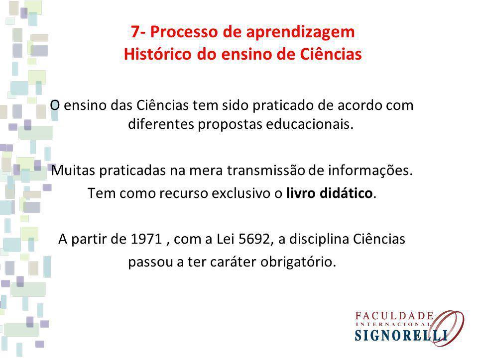 7- Processo de aprendizagem Histórico do ensino de Ciências