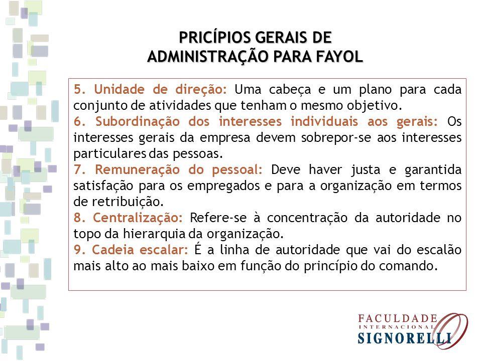 PRICÍPIOS GERAIS DE ADMINISTRAÇÃO PARA FAYOL