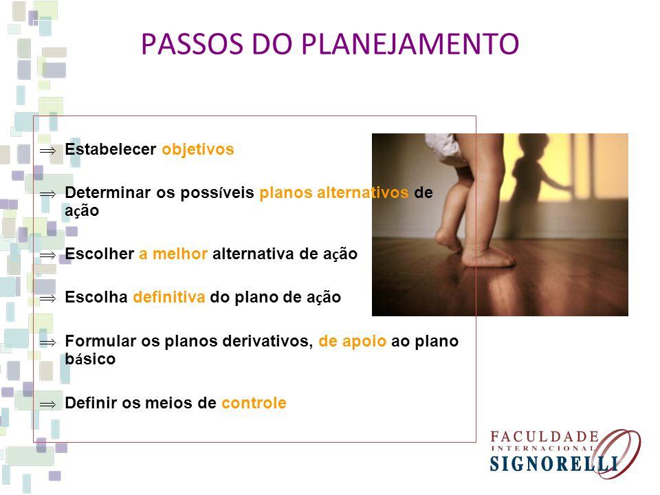 PASSOS DO PLANEJAMENTO