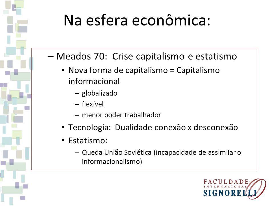 Na esfera econômica: Meados 70: Crise capitalismo e estatismo