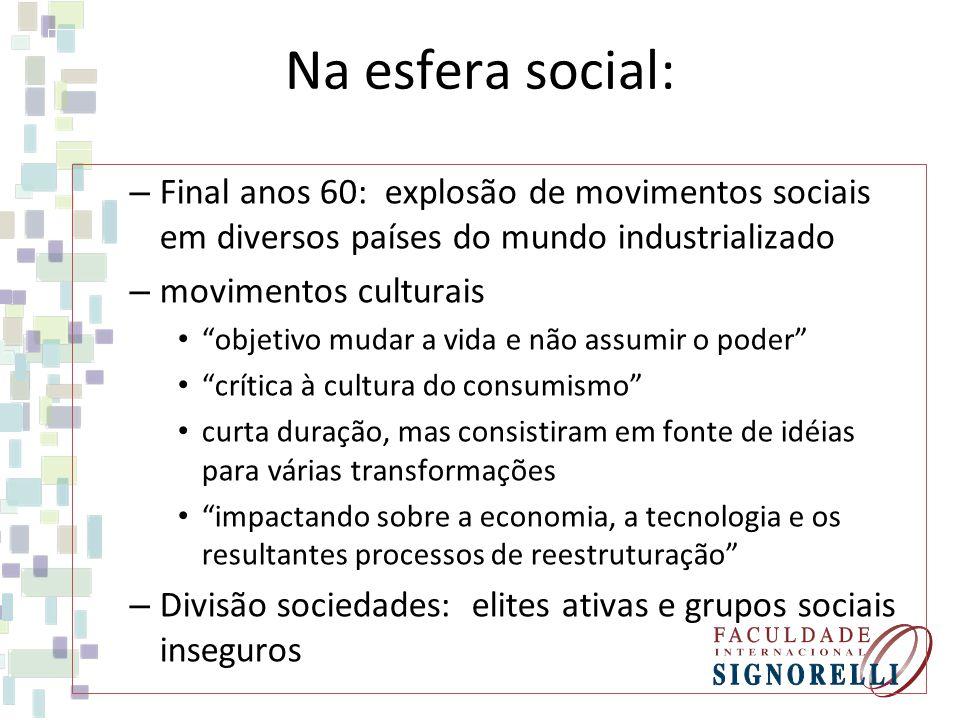 Na esfera social: Final anos 60: explosão de movimentos sociais em diversos países do mundo industrializado.