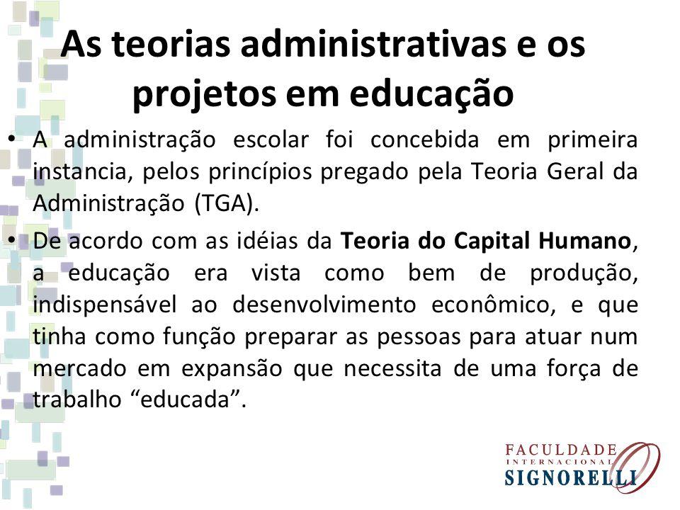 As teorias administrativas e os projetos em educação