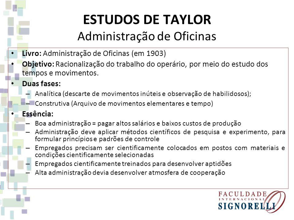 ESTUDOS DE TAYLOR Administração de Oficinas