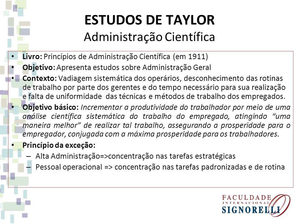 ESTUDOS DE TAYLOR Administração Científica