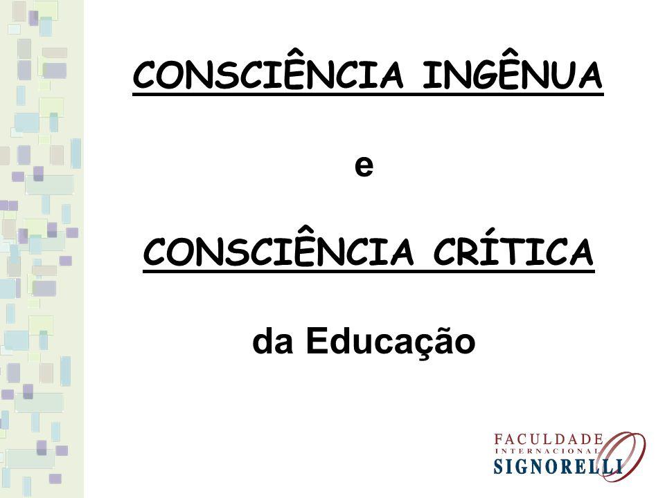 CONSCIÊNCIA INGÊNUA e CONSCIÊNCIA CRÍTICA da Educação