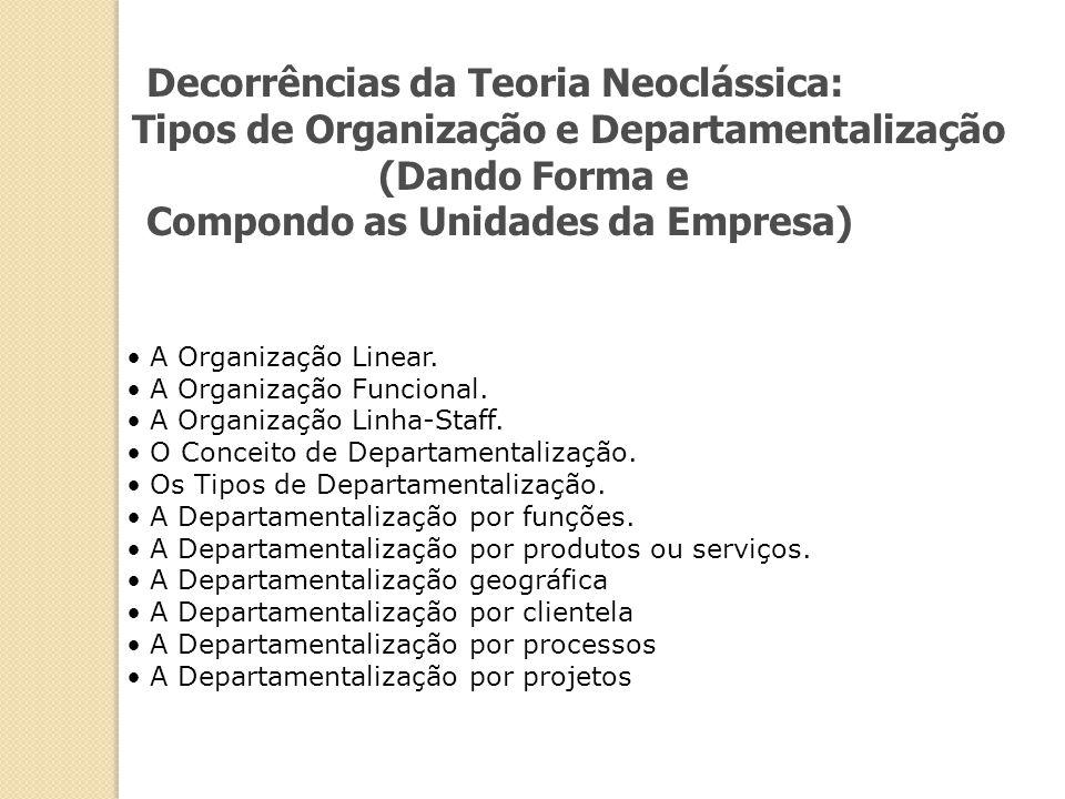Decorrências da Teoria Neoclássica: Compondo as Unidades da Empresa)