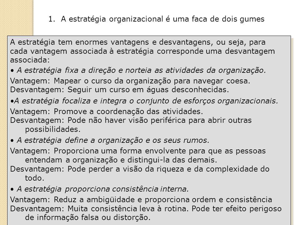 1. A estratégia organizacional é uma faca de dois gumes