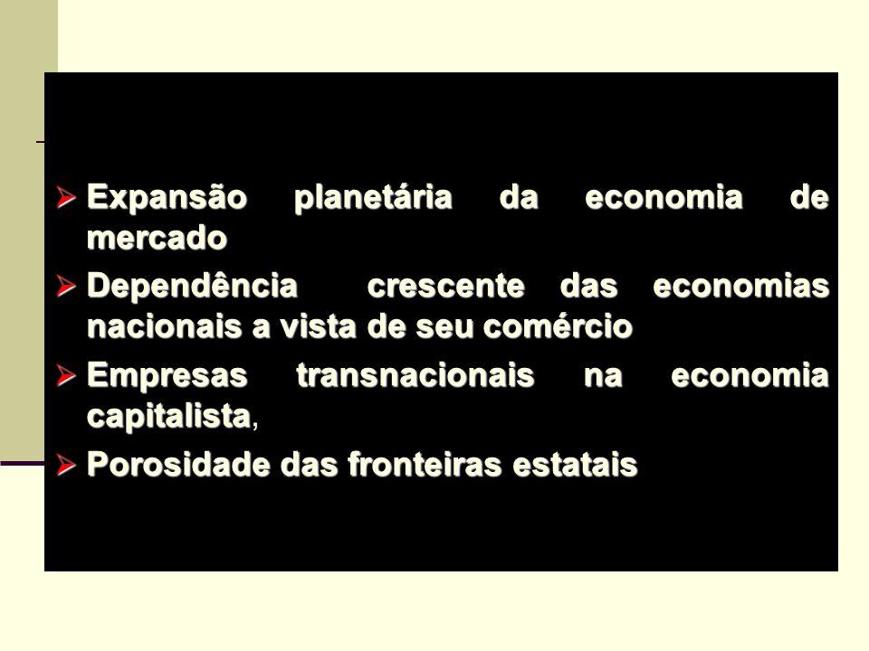 Contemporaneidade Expansão planetária da economia de mercado. Dependência crescente das economias nacionais a vista de seu comércio.