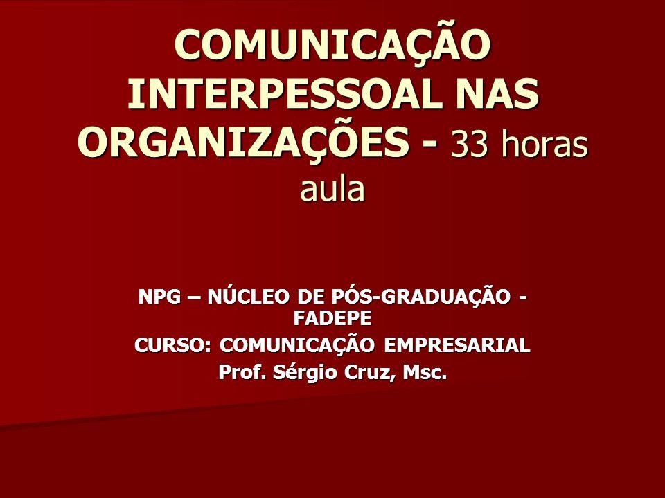 COMUNICAÇÃO INTERPESSOAL NAS ORGANIZAÇÕES - 33 horas aula