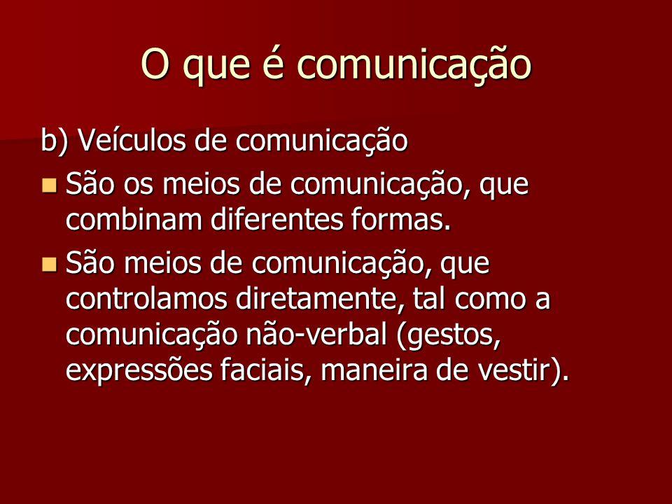O que é comunicação b) Veículos de comunicação