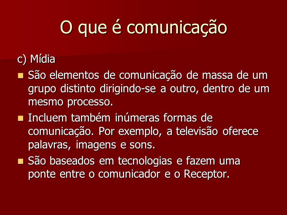 O que é comunicação c) Mídia
