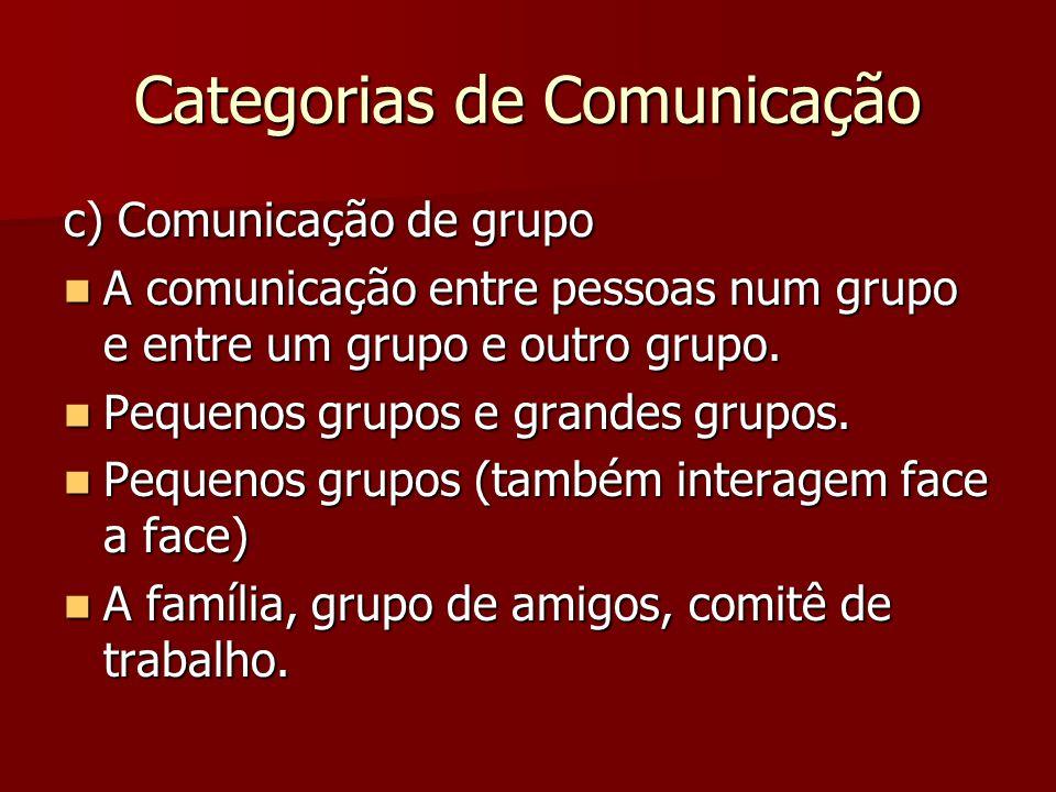 Categorias de Comunicação