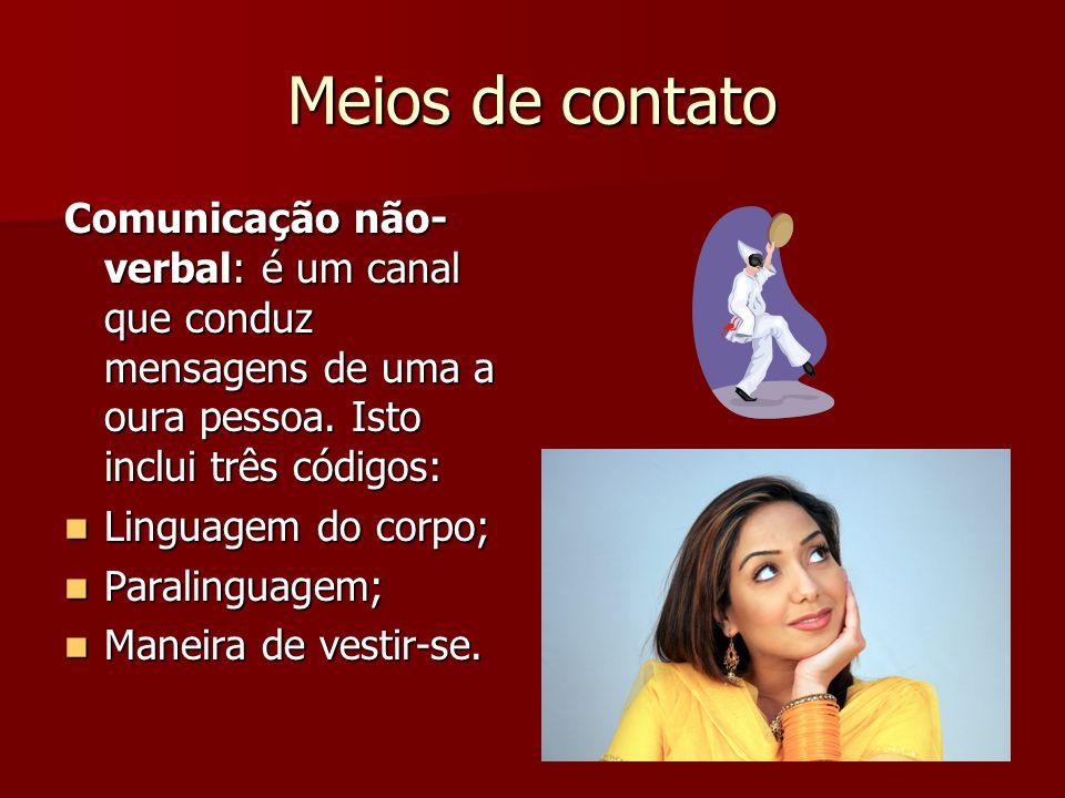 Meios de contato Comunicação não-verbal: é um canal que conduz mensagens de uma a oura pessoa. Isto inclui três códigos: