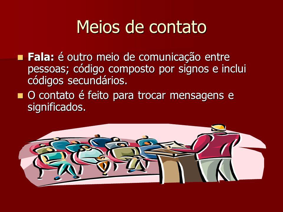 Meios de contato Fala: é outro meio de comunicação entre pessoas; código composto por signos e inclui códigos secundários.