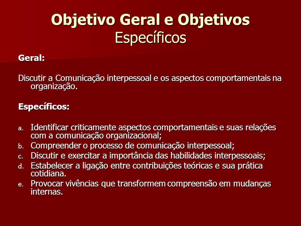 Objetivo Geral e Objetivos Específicos