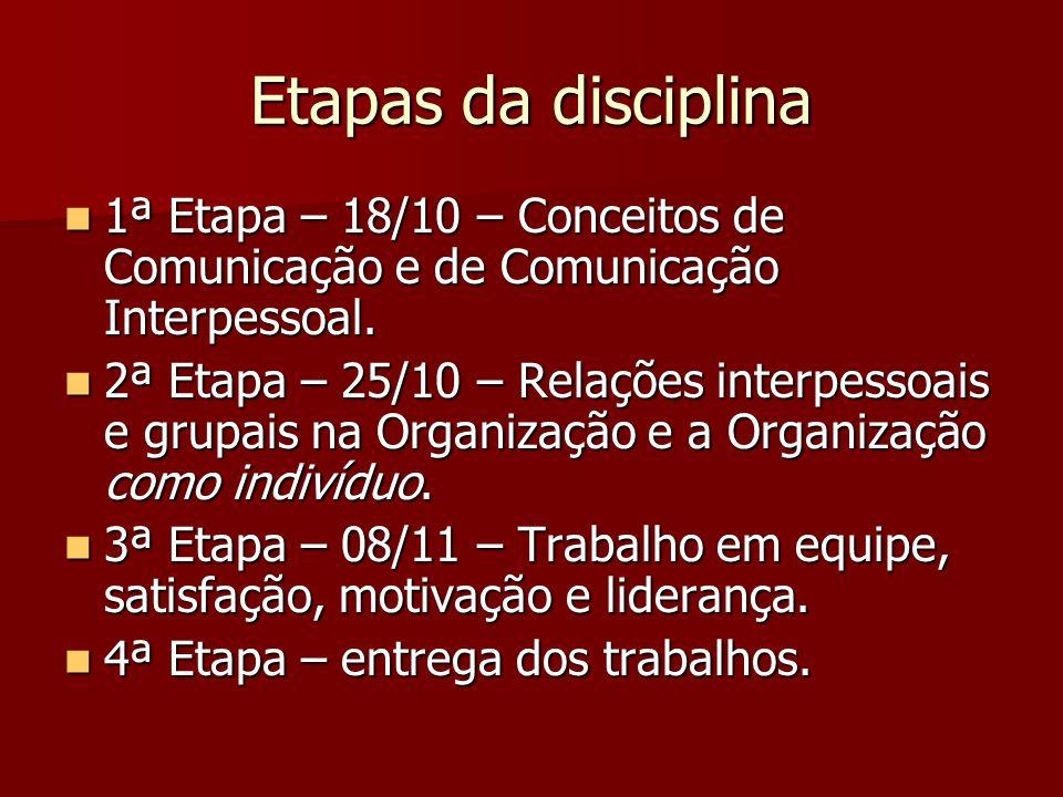 Etapas da disciplina 1ª Etapa – 18/10 – Conceitos de Comunicação e de Comunicação Interpessoal.