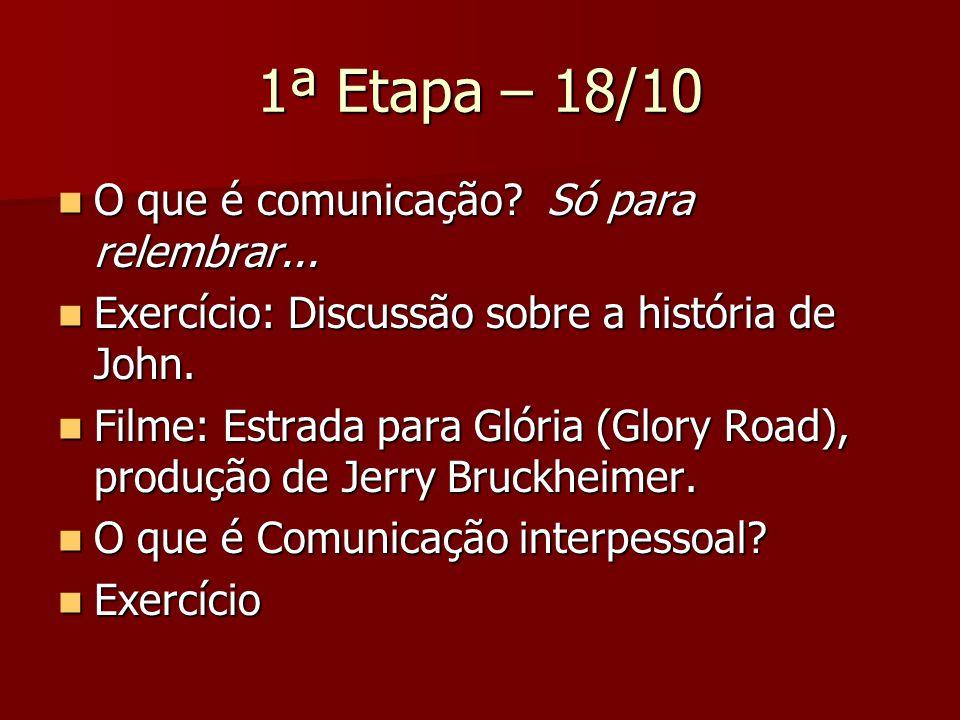 1ª Etapa – 18/10 O que é comunicação Só para relembrar...